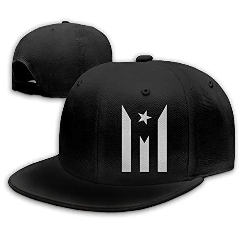 Puerto Rico Black & White Protest Flag Adult Hip Hop Hats Adjustable Snapback Cap for Men