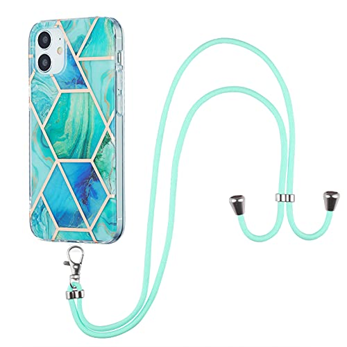 Schutzhülle für iPhone 12 Mini (5,4 Zoll), Marmor-Muster, TPU + Schlüsselband, Grün