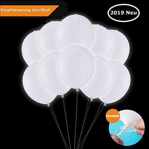 LED Luftballons Weiße, LED Leuchten Ballon Luftballons Hochzeit Weiss, Luftballons Geburtstag 30 Stück für Weihnachten Fasching Valentinstag Party Deko TECHSHARE (LED-Ballon mit Schalter)