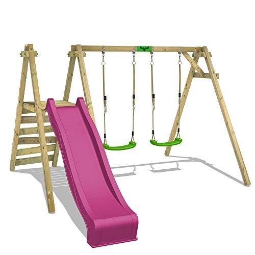 FATMOOSE Schaukel Schaukelgerüst JollyJack Star XXL Kinderschaukel mit violette Rutsche, Podest und apfelgrünen Schaukelsitzen