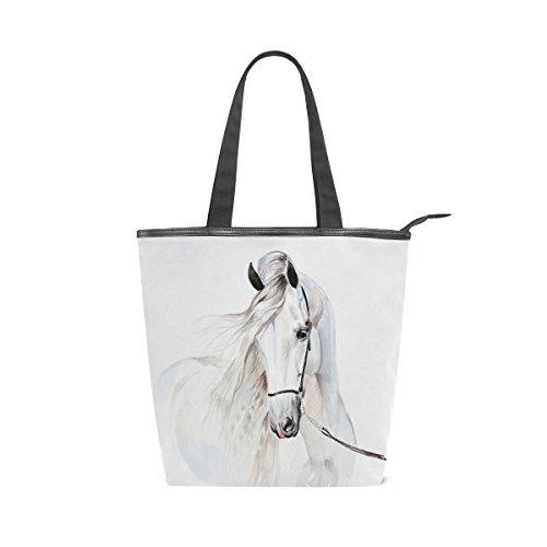 VAWA トートバッグ キャンバス ハンドバッグ かわいい 馬柄 白 大容量 レディース 帆布 ショルダーバッグ 多機能バッグ