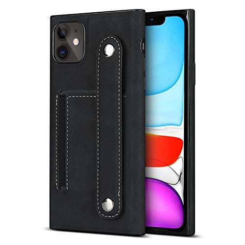 Schutzhülle für iPhone 11 (6,1 Zoll) (PU-Leder, mit Armband-Halterung), Schwarz