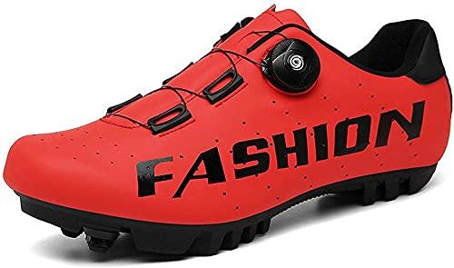 KUXUAN Zapatillas de Ciclismo MTB para Hombre Zapatillas de Bicicleta de Montaña SPD Zapatillas de Bicicleta de Carretera Zapatillas de Ciclismo Transpirables,Red-8UK=(260mm)=42EU