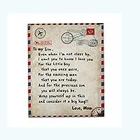 私の娘/息子/妻のためのフランネルブランケット、手紙で印刷されたキルト、Pstartsポジティブな励ましと愛の家族のブランケット (息子のためにB 60 * 50in)