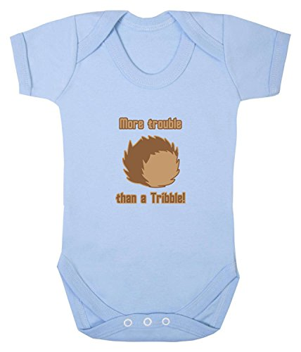 More Trouble Than A Tribble Babygrow. 6-12 Monate. Baby Blue