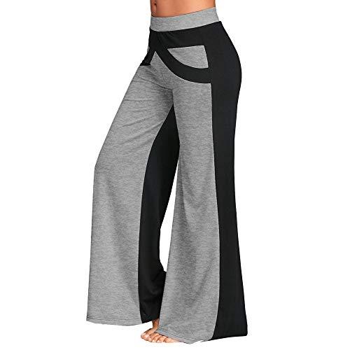 Mujer Pantalones Tallas Grandes Elasticos Invierno Patchwork Campana Flare Yoga De Cintura Ancha (Gris, XXL)
