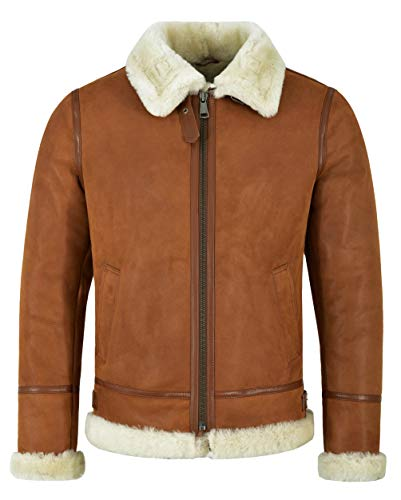 Giacca da Uomo in Pelle di Montone Shearling B3 Tan Whisky Beige Bomber Pilota RAF NV-65 (S for Chest 40')