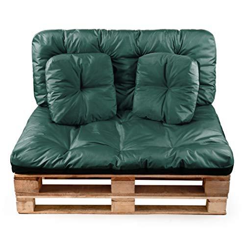 Pecock Palettenkissen 4-teiliges Set | Sitzkissen 120x80cm, Rückenkissen 120x50cm, 2 Deko-Kissen 40x40cm | Schimmelresistent, Wasser- und schmutzabweisend Dunkelgrün