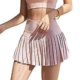 WOWENY Mujer Deportivo Corto Falda Plisada A-Line Mini Skorts de Tenis Golf con Bolsillos Interiores para Shorts,Vestido de Playa para Mujer (Rosa, S)