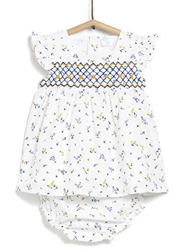 TEX - Vestido Estampado con Braguita para Bebé Niña, Blanco Neutro, 18 Meses