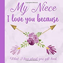 My Niece I Love You Because What I love About You Gift Book: Prompted Fill-in the Blank Personalized Journal   25 Reasons Why I Love You   Christmas, ... to Niece from Aunt (I Wrote a Book About You)