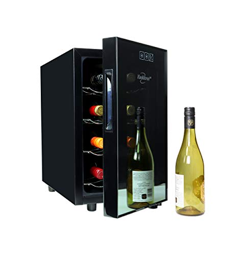 Koolatron Urban Series 8-Bottle Thermoelectric 0.8cu.ft Beverage Refrigerator Black Free-Standing Countertop Wine Cellar Cooler for Red or White Wine in Small Kitchen, Apartment, Condo, Cottage, RV