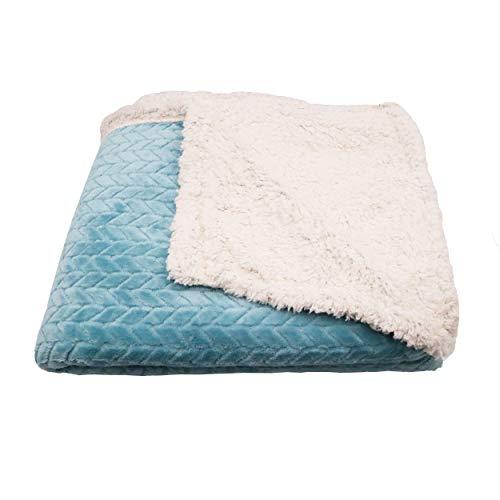 Manta de Doble Cara de Tela Sherpa Y Microfibra Efecto de Patrón de Espiga de Trigo, Manta para Cama Y Sofá Calentito y Suave (Azul Claro, 130 x 160 cm)