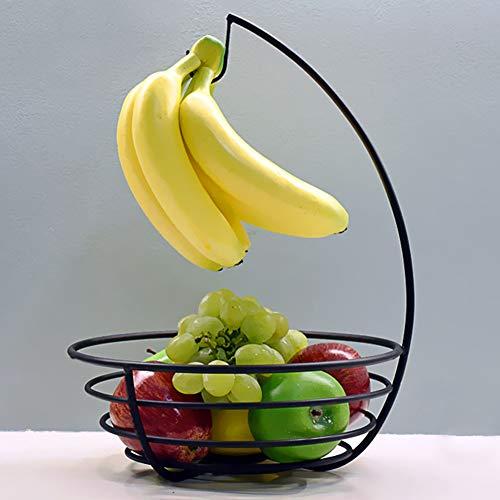 IJzeren Fruitschaal, Creatief Fruitmandje met bananenhaak, Huishoudelijke draad Fruit Display Stand Rack - Roestvrij free size Zwart