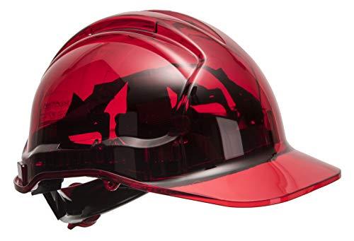 Portwest PV64RER Series PV64 Peak View Ratsche, durchscheinend, harter Helm, regulär, rot