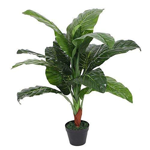Leaf Design UK - Planta Artificial para Orejas de Elefante (Colocasia) - Maceta de plástico Negro Extragrande (105 cm)
