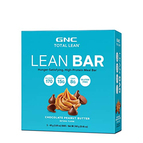 GNC Total Lean Lean Bar - Chocolate Peanut Butter, Twin Pack, 5 Bars per Box, Hunger-Satisfying and High-Protein Snack Bar