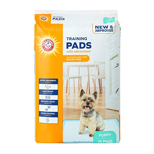 Arm & Hammer for Dogs Puppy Training Pads with Attractant | New & Improved Super Absorbent, Leak-Proof, Odor Control Quilted Puppy Pads with Baking Soda | 25 Count Bulk Wee Wee Pads