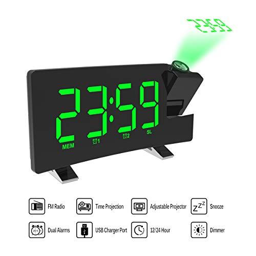 Donpow projectiewekker, wekker, dual wekker, 4 dimmer, digitale klok met USB-oplader, eenvoudig te bedienen, grote cijfers, felrood, gebogen display, groen ???? Blue