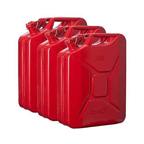Oxid7® 3x Bidón de Combustible Homologado de 20 Litros - Garrafa de Gasolina y Diésel en Metal con Aprobación de la ONU - Ideal para Viajes Largos; Uso de Cortacésped o Motosierra - Rojo