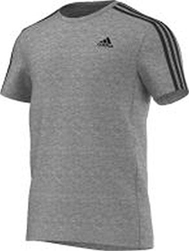 Adidas - Camiseta para hombre, diseño de 3 rayas, hombre, color gris, tamaño mediano