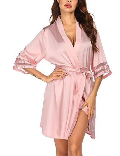 Morgenmantel Damen Sexy V-Ausschnitt Kimono 3/4 Ärmel Robe Seide Bademantel Negligee Sommer