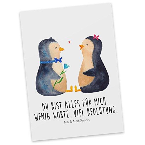 Mr. & Mrs. Panda Geschenkkarte, Ansichtskarte, Postkarte Pinguin Pärchen mit Spruch - Farbe Weiß