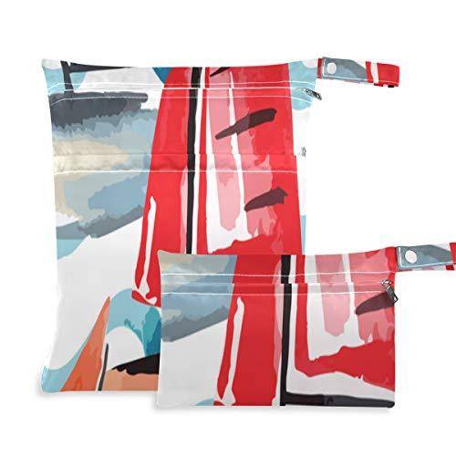 Nette schöne Sommer auf dem Meer Boot Windel Aufbewahrungstasche Zwei Taschen 11,8 × 14,2 Zoll und 5,9 × 8,7 Zoll Stoffbeutel wasserdichte Organizer wasserdichte Tasche für Badeanzüge oder nasse Klei