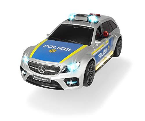 Dickie Toys 203716018 Mercedes-AMG E43 Polizeiauto, Polizei, Motor. Spielzeugauto, Heckklappe öffnet per Knopfdruck mit Hundegebell-Soundeffekt, inkl. Batterien, 30 cm, Silber/blau