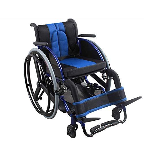 AOLI Sport und Freizeit Rollstuhl, bewegliche Aluminiumlegierung für Behinderte Rollstuhl-Folding, Freizeit Sport Scooter, faltbar mit Eigenantrieb Rollstuhl, Schwarz,Schwarz