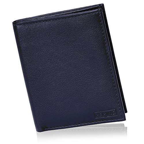 HEMING Portafoglio uomo slim blu navy - 100% pelle - Portafoglio uomo piccolo sottile - Portafoglio porta carte di credito - Porta soldi e carte di credito - Portacarte uomo pelle - compatto