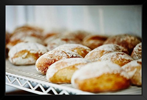 Loaves of Bread on Cooling Rack in Bakery Photo Art Print Black Wood Framed Poster 20x14