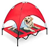"""RELIANCER Large 48"""" Elevated Dog Cot with Canopy Shade 1680D Oxford Fabric Outdoor Pet Cat Cooling Bed Tent w/Convenient Carrying Bag Indoor Sturdy Steel Frame Portable for Camping Beach (48, Red)"""