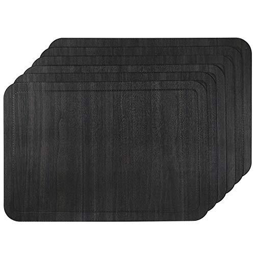 U'Artlines 6er Set Platzsets Hitzebeständigen Waschbaren PU Faux Leder Tischsets 30 * 43.5cm Schwarz
