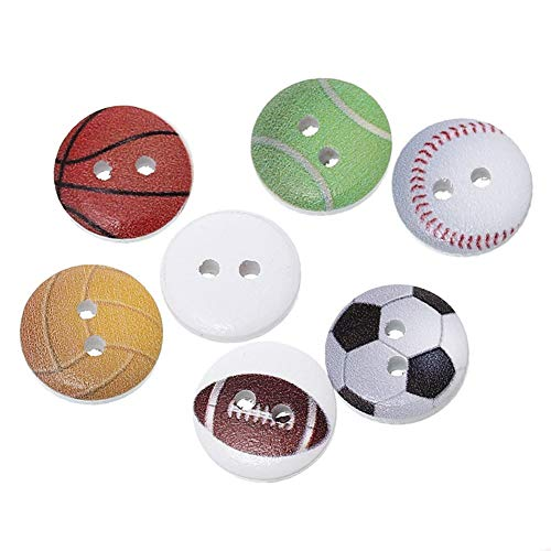 BIGBOBA.200 pz Bottoni Colorati Calcio Pallacanestro A Forma di Tondo Dipinto Cucire Pulsanti Fai da Te per Cucito E Lavorazione (#3)