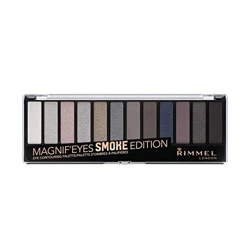 Rimmel London, Palette Ombretti MagnifEyes, 12 Tonalità Multiuso dal Finish Matte, Perlato e Gitter, 003 Smokey Edition