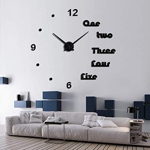 OERTUFU Reloj de Pared Campana Creativa Bell Dormitorio Reloj de Pared Home Europea Sala de Estar Espejo Mirror Reloj de Espejo Puede DIY Tamaño (Color:Plata) (Color : Nero)