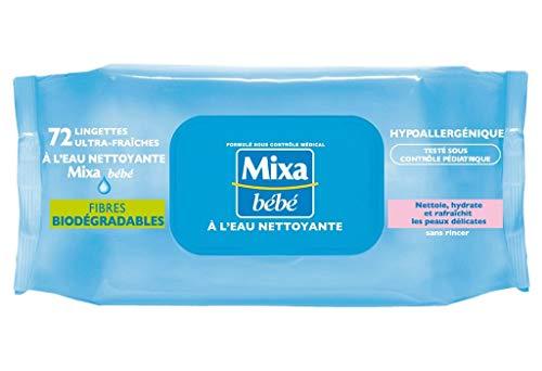 Mixa Bébé - Toallitas de agua limpiadora para bebé, 72 unidades (lote de 6 unidades = 432 toallitas