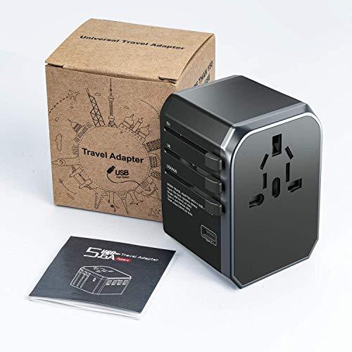 Adaptador Enchufe De Viaje Universal, MUSCCCM Cargador Internacional con 4 Puertos USB y Tipo C para US EU UK AU Más de 150 Países