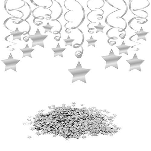Konsait Silber Hängedekoration Geburtstag Deckenhänger Spiral Girlanden, 30 Teilig Set & Gold Funkeln Stern Tisch Konfetti (15 Gramm) für Hochzeiten, Baby Party, Geburtstag Dekoration
