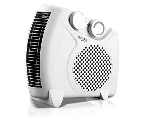 HAEGER VERSATILE - Calefactor 2000W, Blanco. Posición Horizontal o Vertical, Termostato Regulable