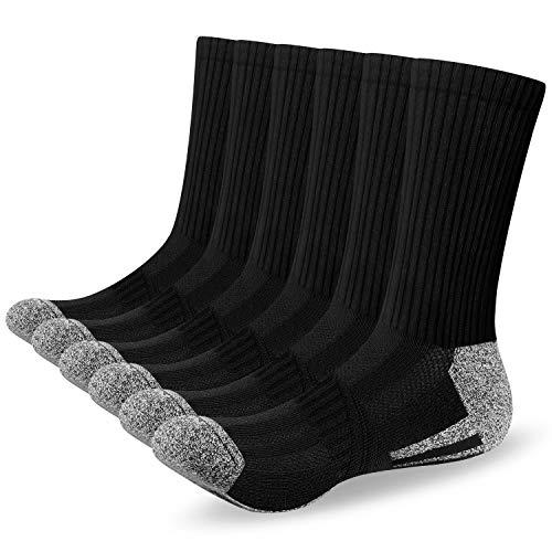 Alaplus Sneaker Socken Herren Damen Baumwolle Laufsocken Atmungsaktiv Weich Lange Warm rutschfest Sportsocken Schwarz Weiß Grau 6 Paar 43-46 39-42 35-38 47-50 Wandersocken