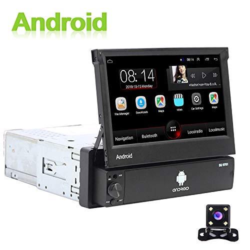 Android Autoradio 1 Din GPS CAMECHO 7 Pouces Flip Out Écran Tactile capacitif Bluetooth FM Radio WiFi La Navigation Lien Miroir pour téléphone Android iOS + Caméra de recul