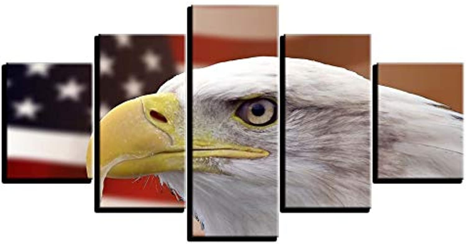 LONLLHB Painting Hd Printed Wall Art Frame Room Home Modern Decor 5 Piece Animal Eagle and Painting Pictures Canvas Poster Modular