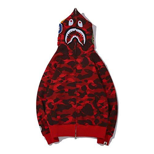 Bape Kapuzenpullover, Hai-Kopf, klassischer Kapuzenpullover für Männer und Frauen, Strickjacke, Sweater, Jacke, rot, Medium