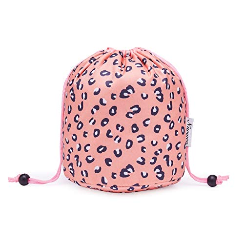 Bolsa de maquillaje con cordón para viaje, organizador de artículos de tocador, impermeable, para mujeres y niñas (pequeño, leopardo)