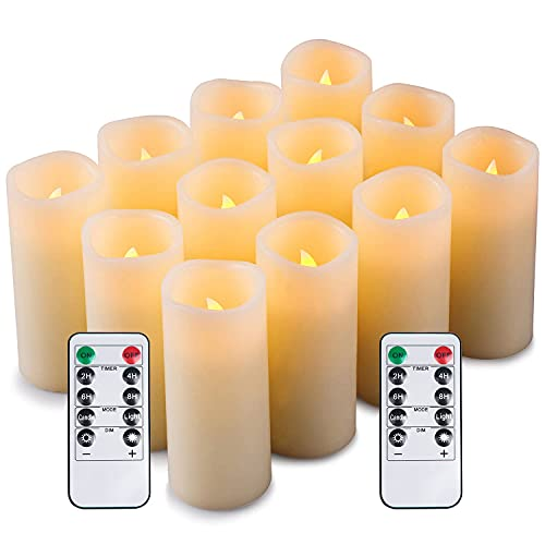 Enpornk Set of 12 Flameless Candles Battery Operated LED Pillar Real Wax Electric Unscented Candles with Remote Control Cycling 24 Hours Timer, Ivory Color (No Moving Wick)