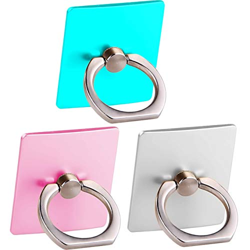 3 Pack Cell Phone Ring Holder Stand,Finger Grip Loop Mount 360 Degree Rotation Universal Smartphone Kickstand Compatible with iPhone 11 PRO MAX X XS XR MAX 8 7 7Plus Galaxy S9 (Teal+Pink+Silver)