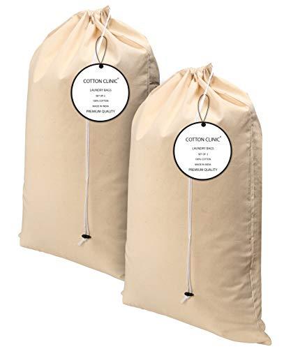 Baumwolle-Klinik 2er Pack Extra groß Schwerlast Wäschebeutel in Natürlicher Farbe - 60x90 cm Sehr langlebig, Wäschesack mit Kordelzug, Maschinenwaschbar und Wiederverwendbar, Wäschebeutel Reise