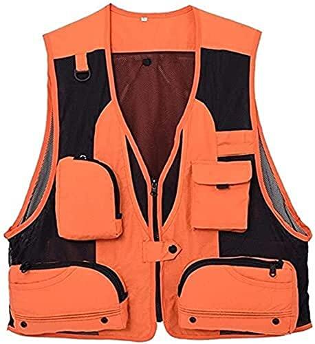 Chaleco de Pesca Secado rápido All-Match Zipper Malla de Malla Sin Mangas Pesca Camping Viajes al Aire Libre Liuyu. (Color : Orange, Size : L)